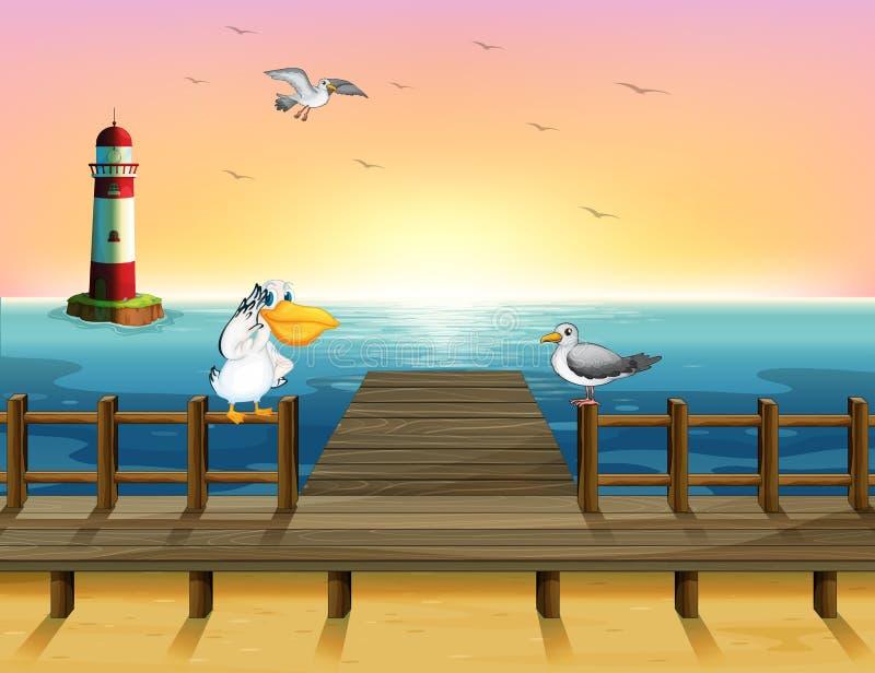 Une vue du port avec les oiseaux illustration de vecteur