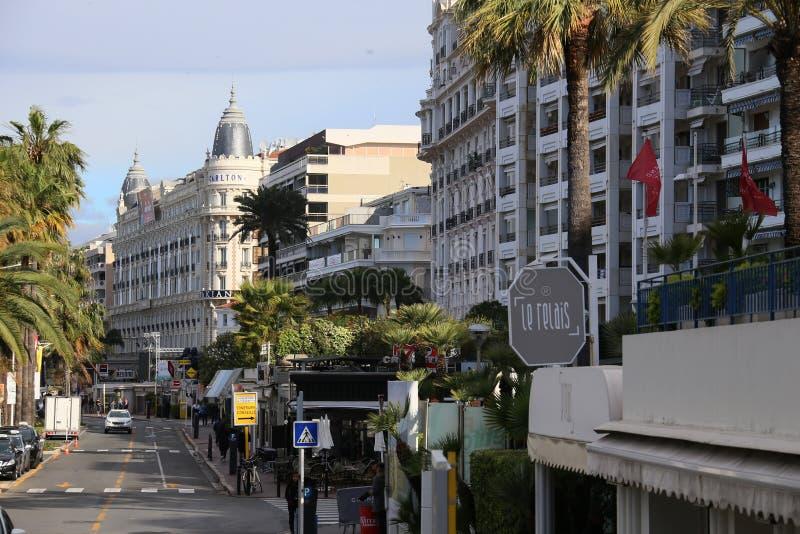 Une vue générale de CARLTON CANNES d'hôtel image libre de droits