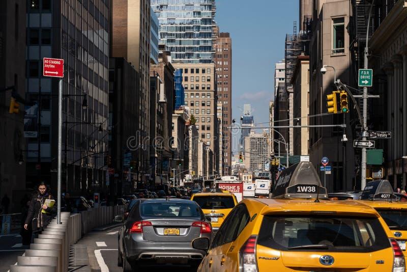 Une vue générale de rue de TriBeCa dans le Lower Manhattan financier New York City de secteur image stock