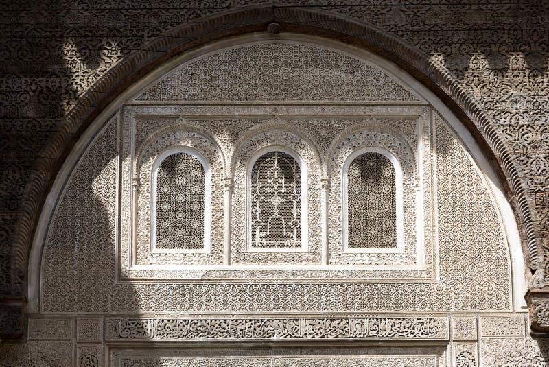 Une vue intérieure de Bou Inania Madarsa dans Fes, Maroc photos stock