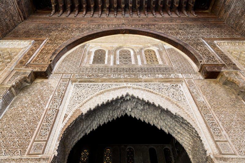 Une vue intérieure de la cour de Bou Inania Madarsa dans Fes, Maroc photo stock