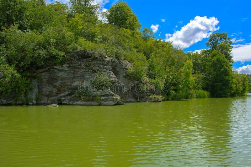 Une vue magnifique du milieu de la rivière au sho en pierre photos stock