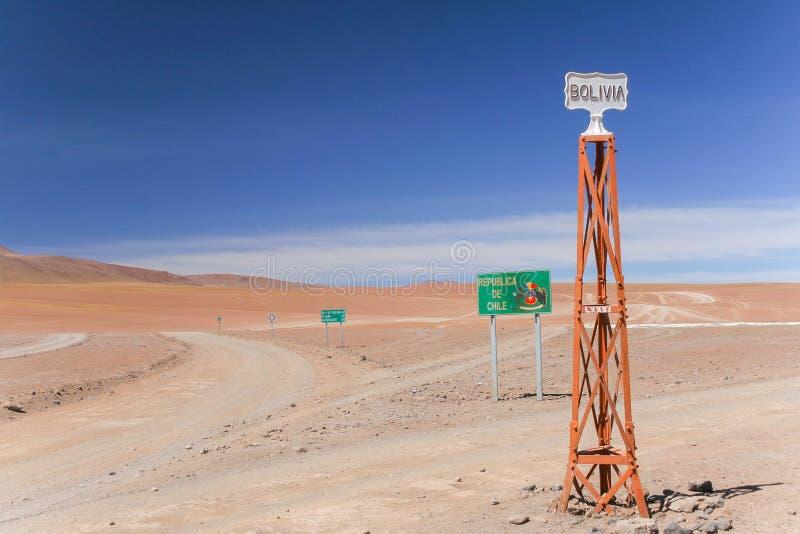 Une vue scénique du désert d'Atacama/de frontière du Chili et de la Bolivie images libres de droits