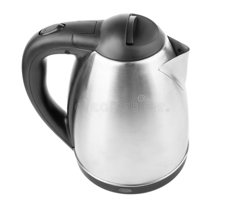 Une vue supérieure d'une bouilloire moderne d'isolement sur un fond blanc Une bouilloire de noir et en métal Une nouvelle vaissel image stock
