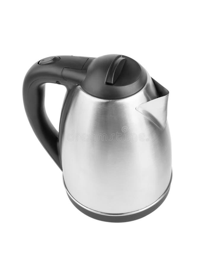 Une vue supérieure de la bouilloire grise en métal d'isolement sur un fond blanc Une bouilloire d'acier électrique Équipement pou images libres de droits