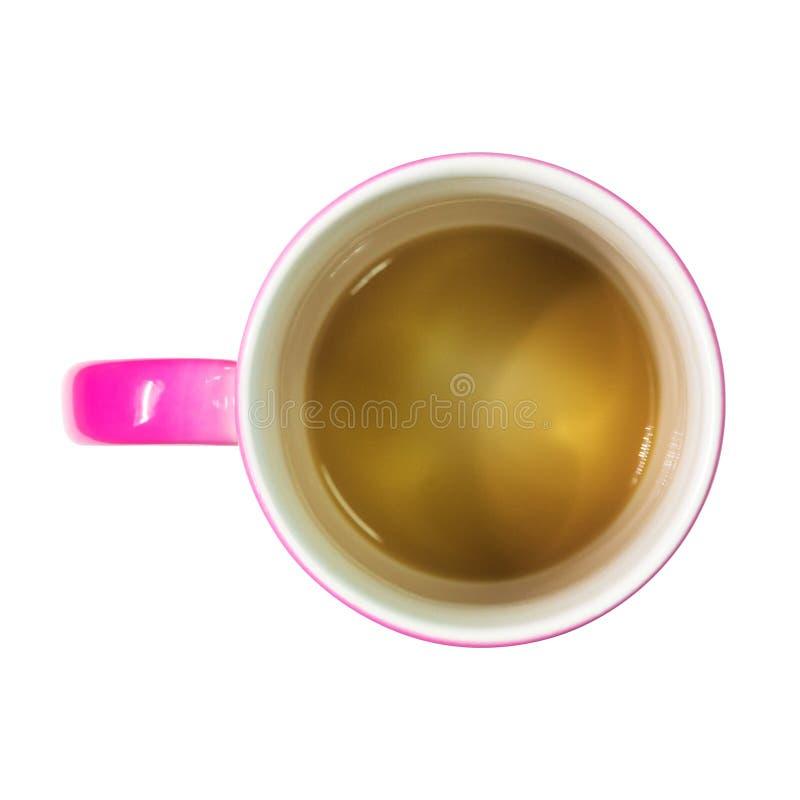 Une vue sup?rieure de tasse de caf? sur le fond d'isolement avec le chemin de coupure Tasse rose de latte pour le montage ou votr illustration stock