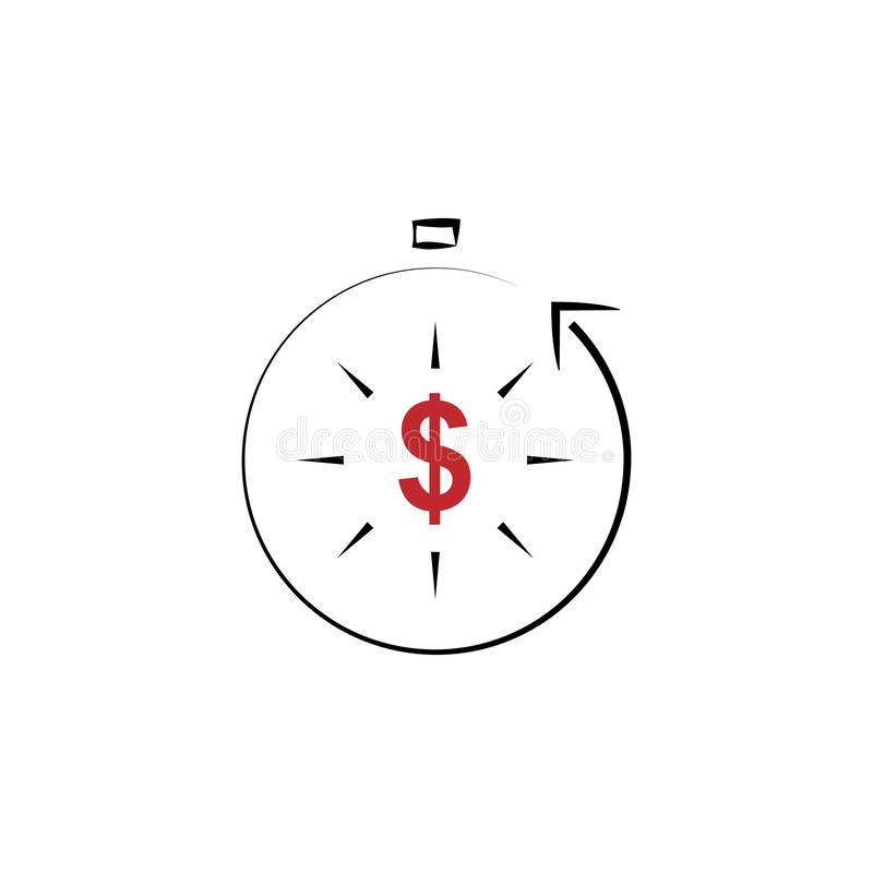 Unearned income 2 colored hand drawn icon. Unearned income colored element illustration. Outline symbol design from finance set. On white background vector illustration