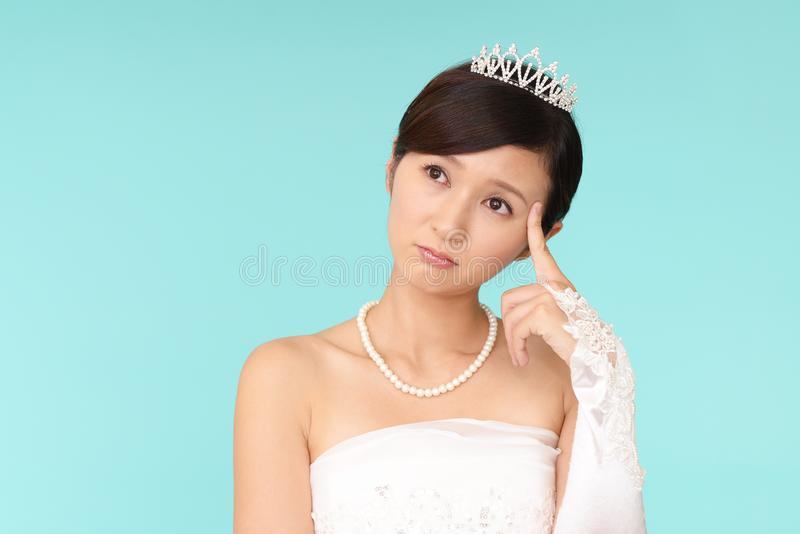 Uneasy Bride In Wedding Dress Stock Photo - Image of adorable ...