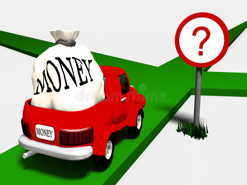 Uneasy choice. The lory with money in front of crossroad vector illustration