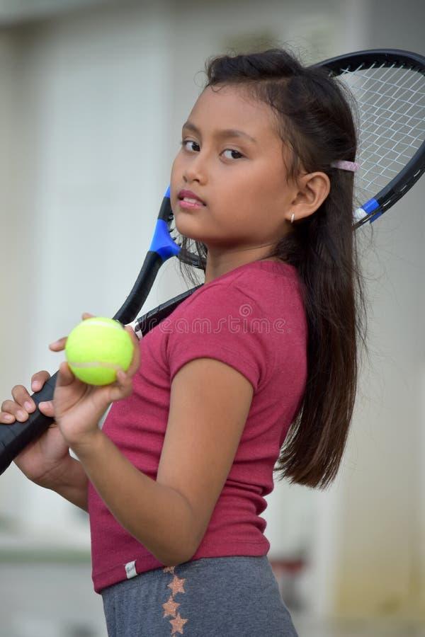 Unemotional dziewczyna gracza w tenisa dziecka atleta zdjęcia royalty free