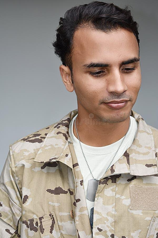 Unemotional Męski żołnierz zdjęcia royalty free