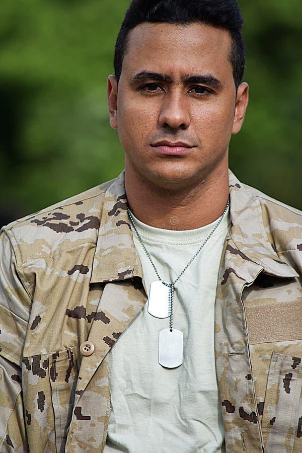 Unemotional Młody żołnierz zdjęcie stock