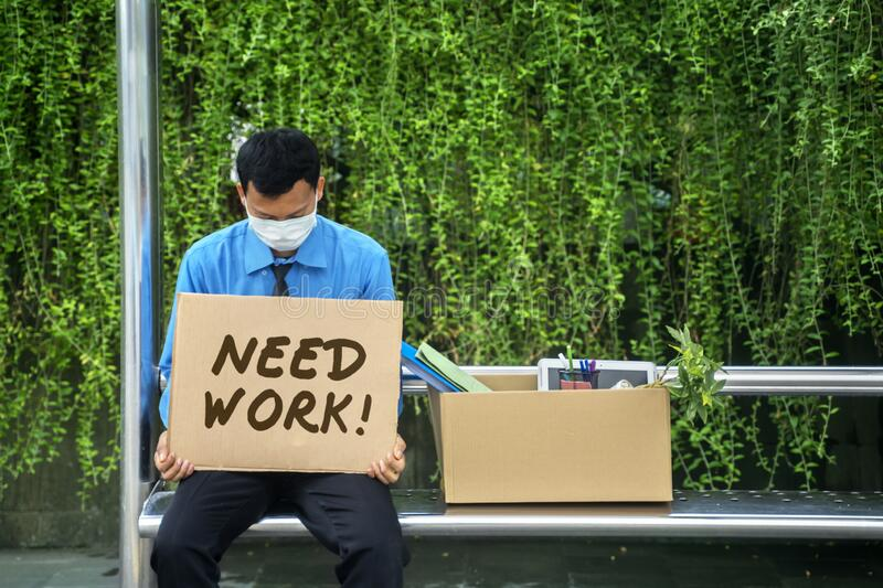 Unemployed businessman holding text of need work royalty free stock photos