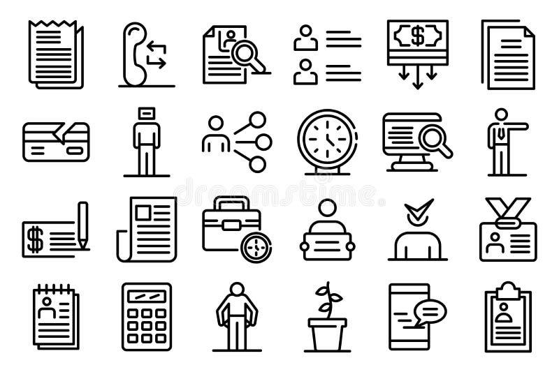 Unemployed icons set, outline style stock image