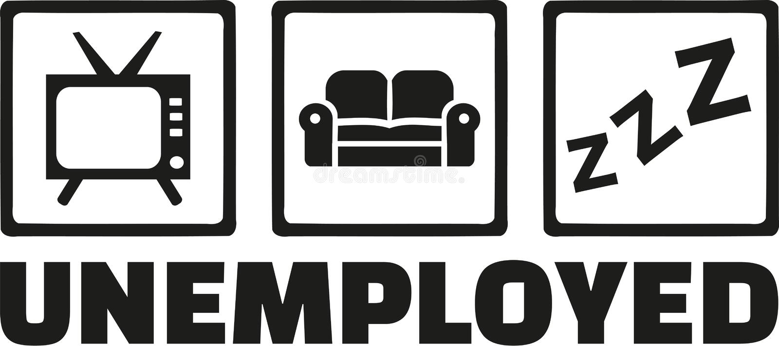 Unemployed icons - tv, sofa, sleep stock illustration