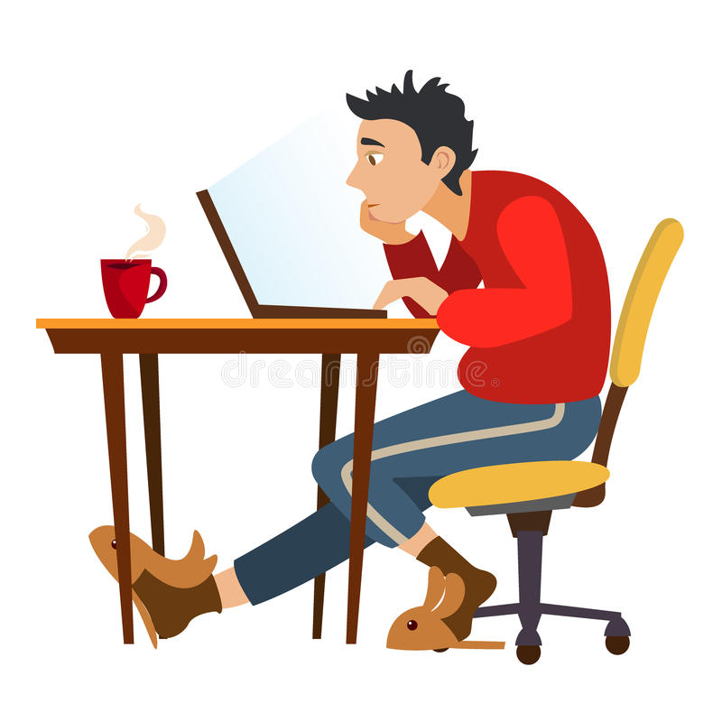 Unemployed man surfing the internet in search of work or Jobs. stock illustration