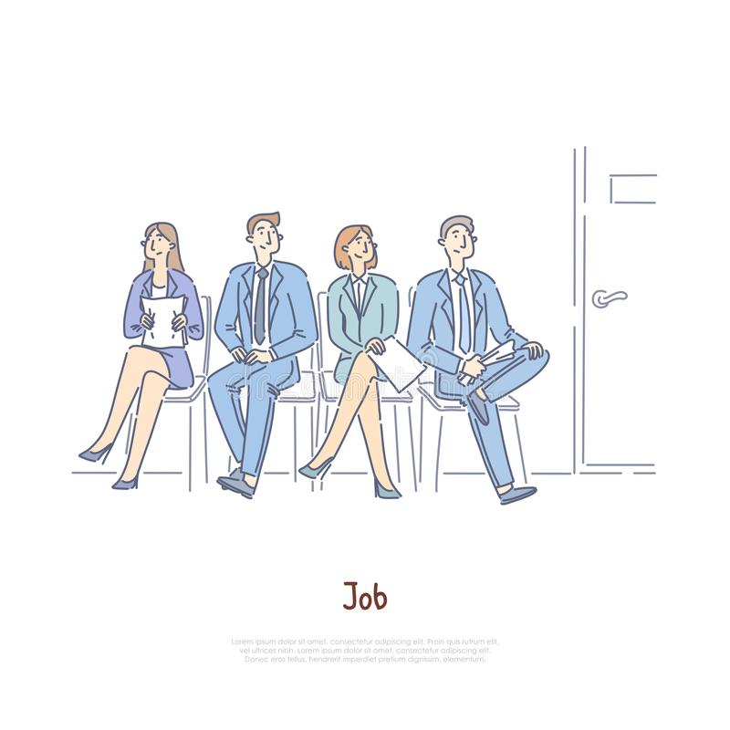 Unemployed men and women sitting in waiting room, vacancy competition, employment agency, recruitment service banner stock illustration