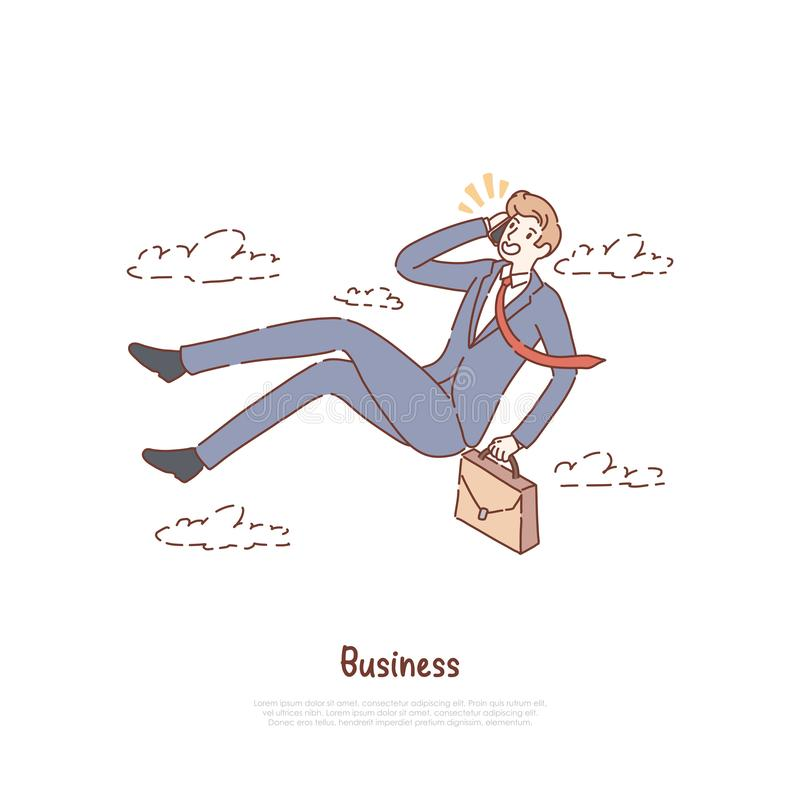 Unemployed office worker in free fall, businessman with suitcase talking on phone, business conversation banner. Entrepreneurship, job search metaphor concept vector illustration