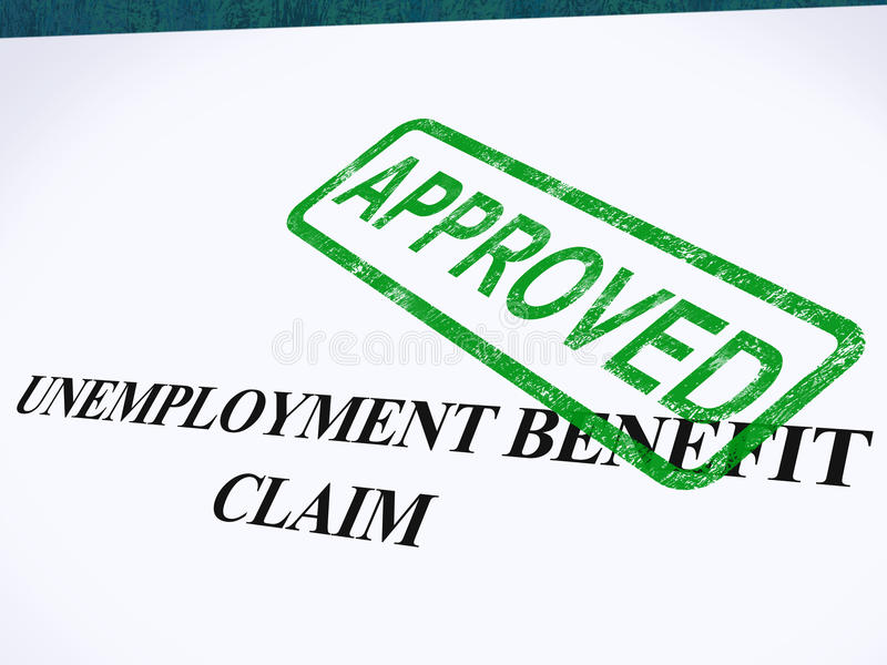 Unemployment Benefit Claim Approved. Stamp Showing Social Security Welfare Agreed vector illustration