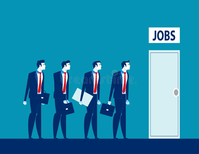 Unemployment the digital age. Competition of people for jobs. Concept business technological revolution vector illustration stock illustration