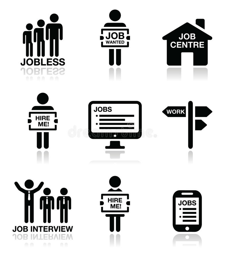 Unemployment, job searches icons set stock illustration
