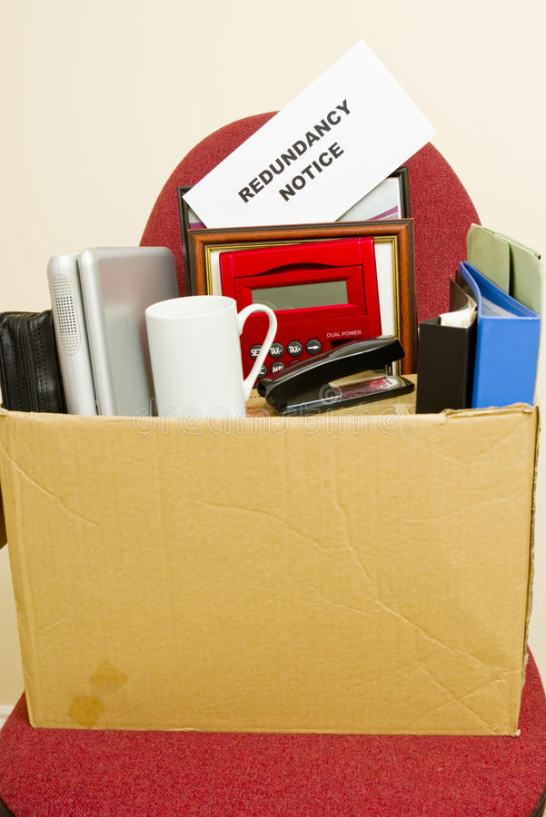 Unemployment and Redundant. An image of a workers belongings after clearing their desk royalty free stock photo