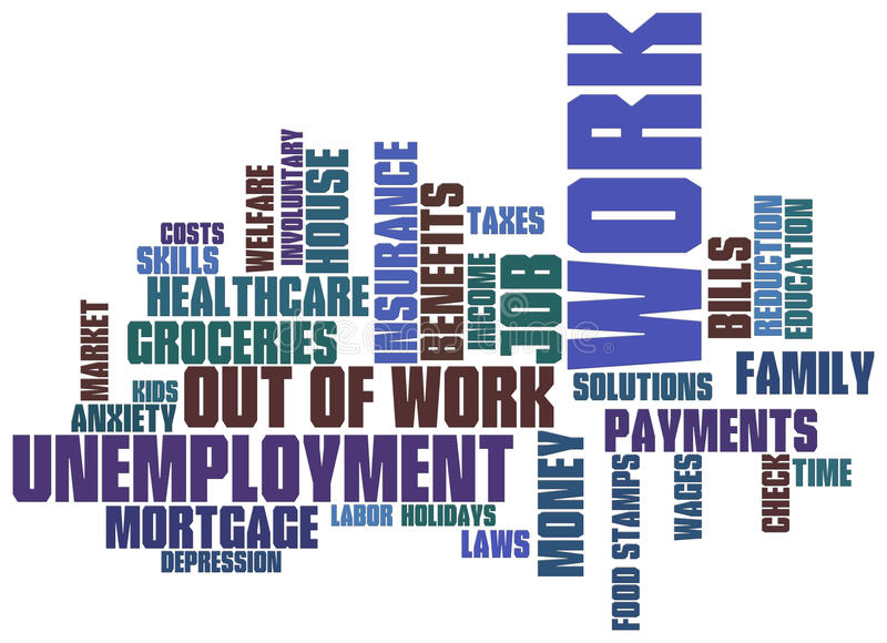 Download Unemployment word cloud stock illustration. Image of mortgage - 16615340