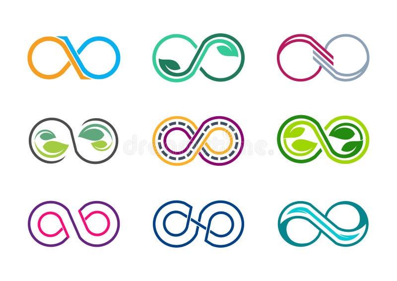 Unendlichkeit, Logo, acht, Blattnatur unbegrenzt, moderner abstrakter Unendlichkeitssatz Sammlungsfirmenzeichensymbolikonen-Vekto stock abbildung
