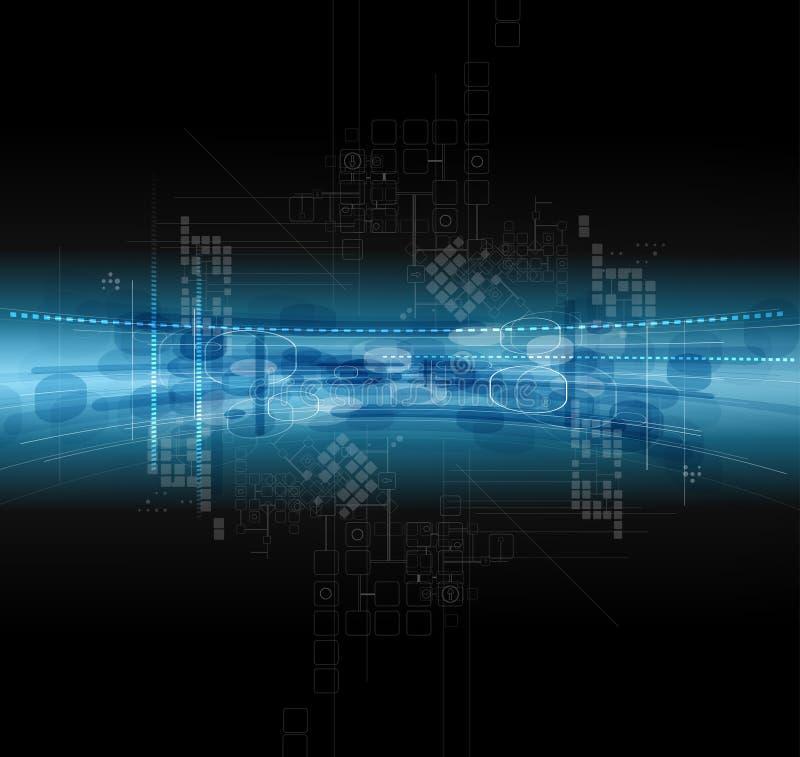 Unendlichkeits-Computertechnologie-Konzeptgeschäft backgr des dunklen Raumes vektor abbildung