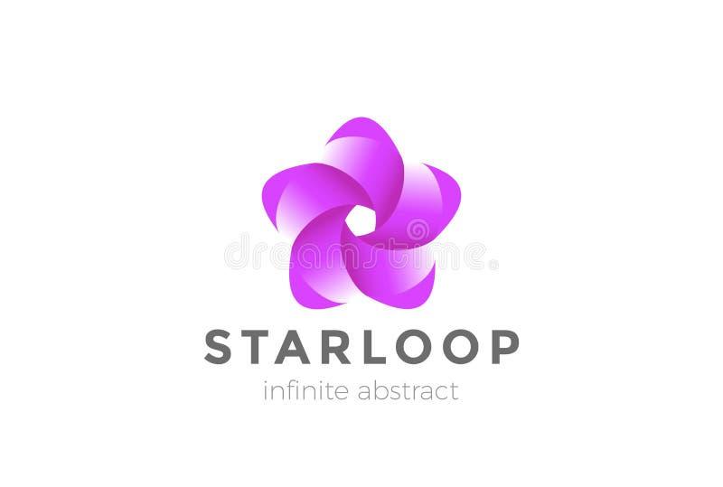 Unendlichkeits-Schleifen-Band-Stern-Blumen-Logozusammenfassungsentwurfs-Vektorschablone Kosmetik-Mode-Schönheit BADEKURORT Firmen vektor abbildung