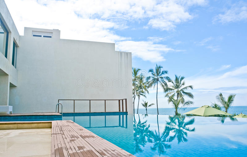 Unendlichkeits-Swimmingpool in einem tropischen Hotel, das im kostalen Bereich Negambo, Sri Lanka fand stockfoto