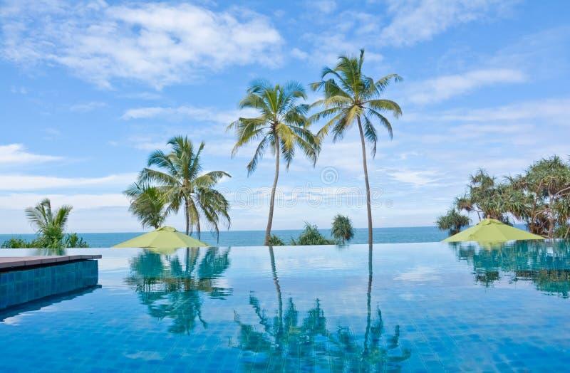 Unendlichkeits-Swimmingpool in einem tropischen Hotel, das im kostalen Bereich Negambo, Sri Lanka fand stockfotografie