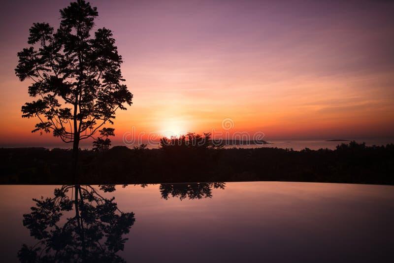 Unendlichkeitspool des tropischen Erholungsortes bei Sonnenuntergang stockfotografie