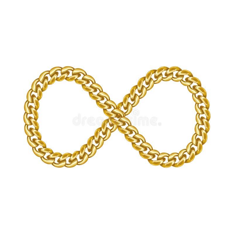 Unendlichkeitszeichen-Goldkettenikone stockbilder