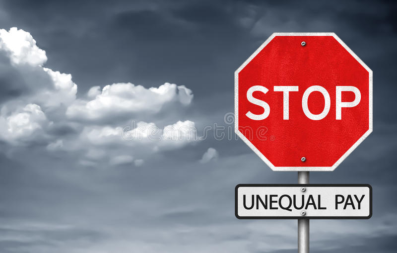 Unequal pay. Stop road sign concept - against unequal pay vector illustration