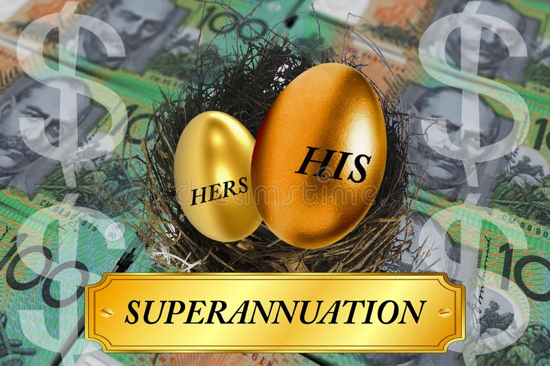 Unequal superannuation for men and women concept. A montage of Australian money and a nest with golden eggs showing his and hers comparative superannuation stock image