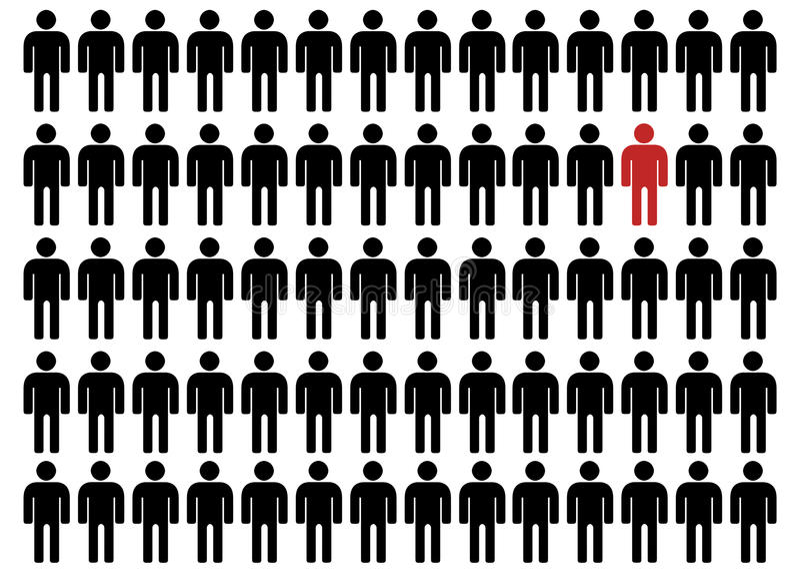 Unequality i svart och rött stock illustrationer