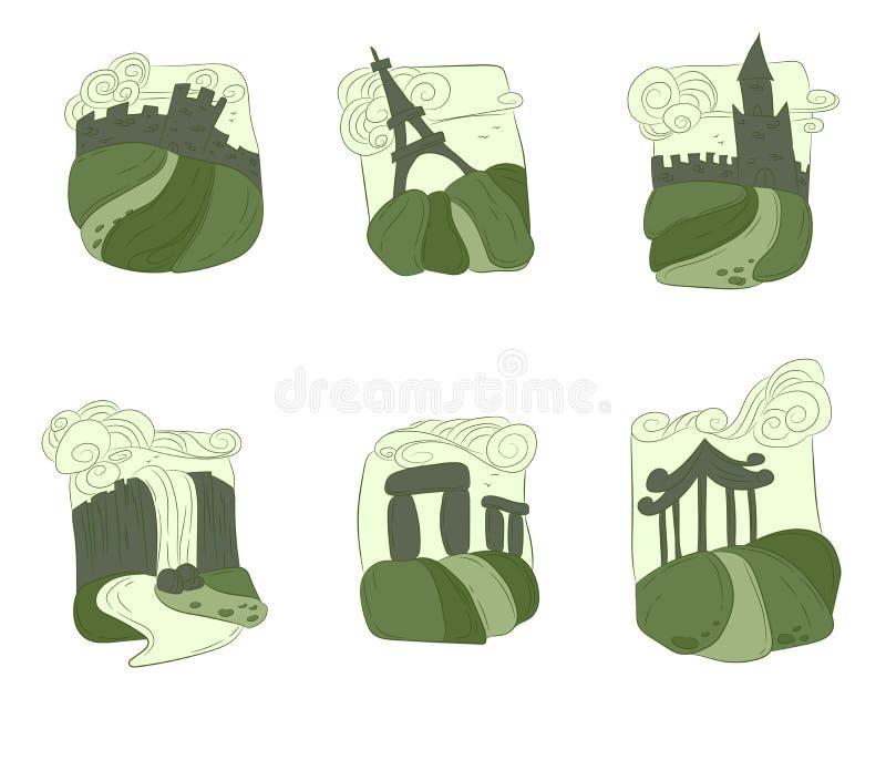 Unesco-de reeks van de werelderfenis vector illustratie