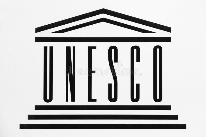 Unesco-embleem op een muur vector illustratie