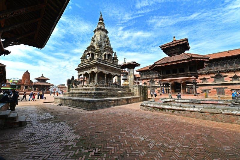 Unesco heritage architecture of Bhaktapur, Kathmandu, Nepal. BHAKTAPUR - OCTOBER 10: Unesco heritage architecture of Bhaktapur, now destroyed after the massive stock photos