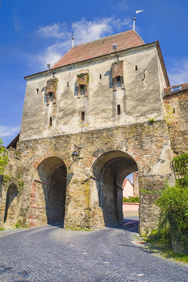 Medieval Gate Tower to  fortress. Unesco Heritage in Romania, Sighisoara citadel, Historic Tower Gate royalty free stock image