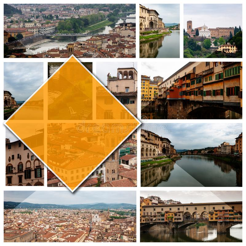 Collage photos of Florence, Italy, in 16: 9 format. stock photos