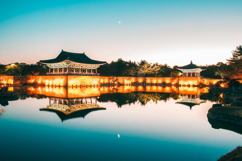 UNESCO Heritage Site, Anapji pond at dusk, Gyeongju, Korea. The pavilions of Anapji Pond reflected in the water in Gyeongju.The Gyeongju Historic Areas of South royalty free stock photography