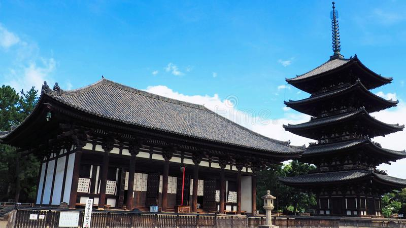 The Tokondo and five-story pagoda of the ancient Kofukuji Buddhist temple, a UNESCO heritage site, situated inside Nara Deer Park. The Tokondo and five-story stock photos