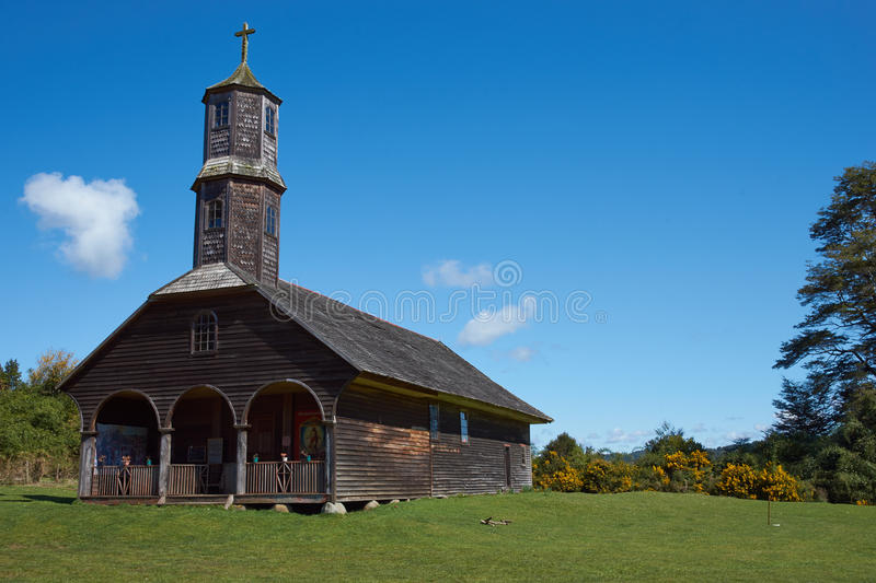UNESCO Historic Church. Historic wooden church, Iglesia de Colo, built in the 17th century by Jesuit missionaries on the island of Chiloe in Chile royalty free stock images