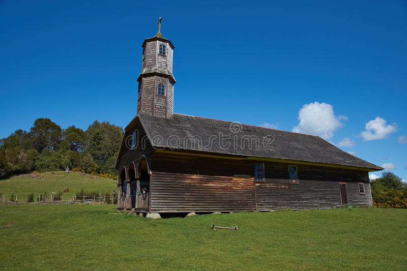 UNESCO Historic Church. Historic wooden church, Iglesia de Colo, built in the 17th century by Jesuit missionaries on the island of Chiloe in Chile royalty free stock photography