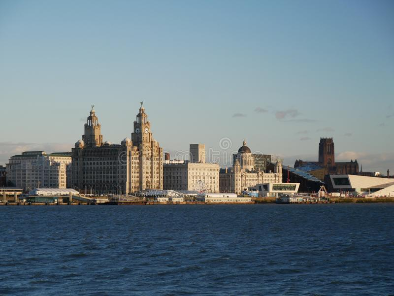 The UNESCO listed waterfront at Liverpool. Liverpool`s UNESCO listed waterfront with the Three Graces The Royal Liver Building, the Cunard Building and the Port stock photos