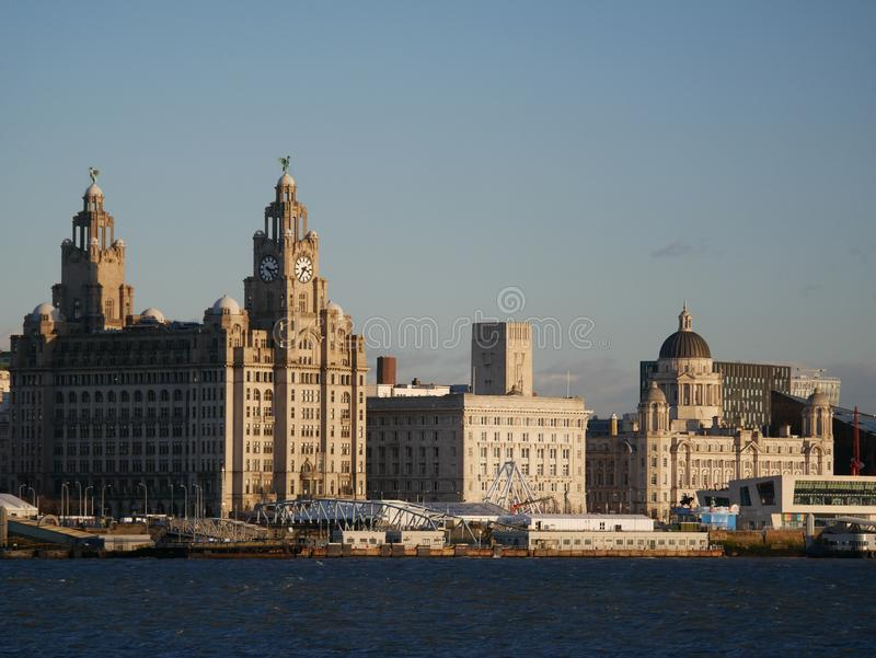 The UNESCO listed waterfront at Liverpool. Liverpool`s UNESCO listed waterfront showing the Three Graces - The Royal Liver Building, the Cunard Building and the royalty free stock photography