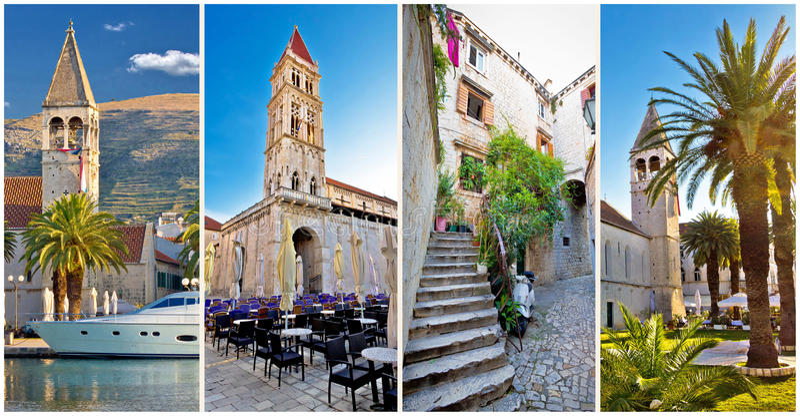 UNESCO miasteczko Trogir architektury kolaż obraz royalty free