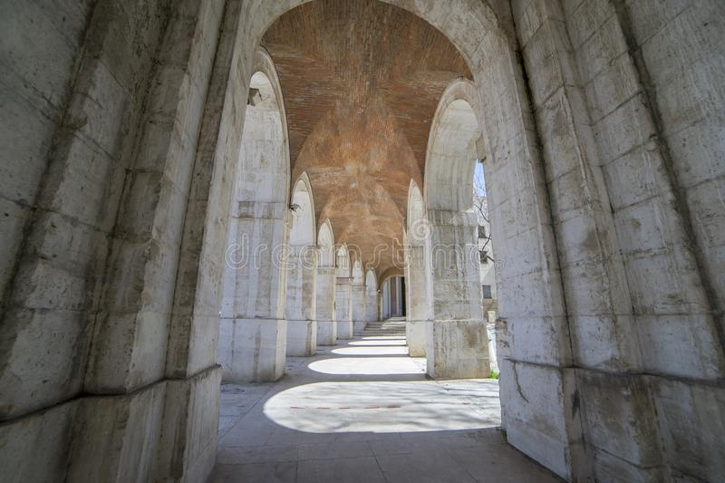 Unesco Old arcs, architecture. A sight of the palace of Aranjuez (a museum nowadays), monument of the 18th century, royal royalty free stock photo